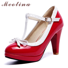 Купить с кэшбэком Meotina High Heels T-Strap Shoes Women Platform Spike High Heels Shoes Bow Patent Leather Party Pumps Spring Red Plus Size 33-46