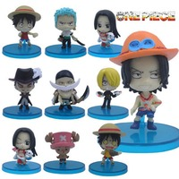 10pcs Set One Piece Anime Cute Luffy Zoro Chopper Ace Collection Figure Loose Free Shipping