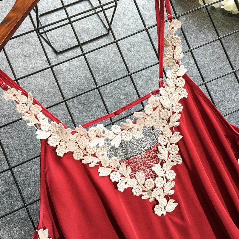 Daeyard Women 39 s Nightgown Sexy Lingerie Lace Trimmed Silk Nightdress Deep V Neck Appliques Sleepshirt Summer Backless Dress in Nightgowns amp Sleepshirts from Underwear amp Sleepwears
