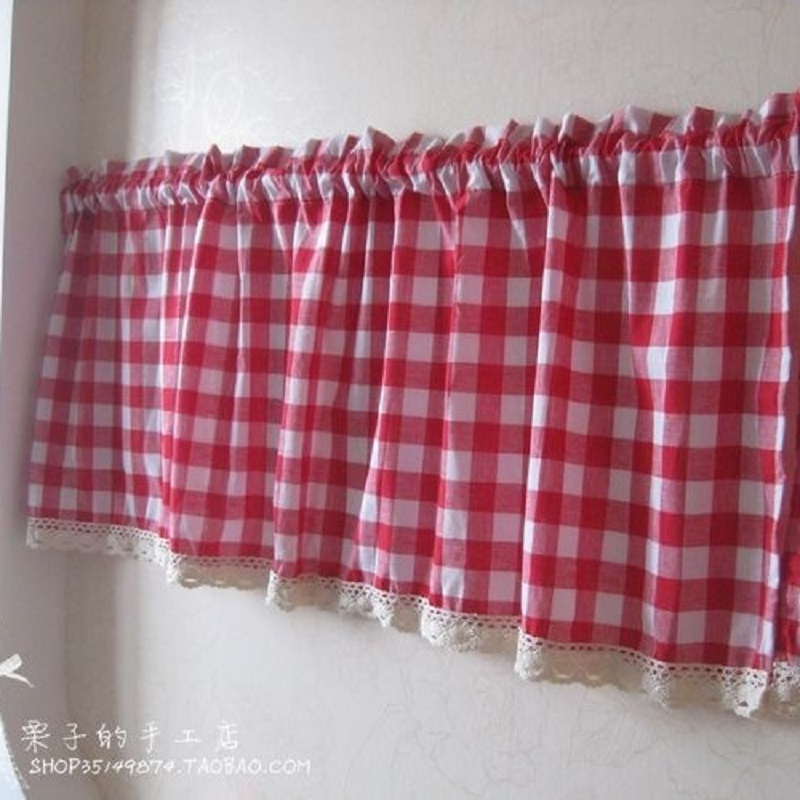 free shipping red plaid lace country rustic kitchen curtains for living room bedroom coffee. Black Bedroom Furniture Sets. Home Design Ideas