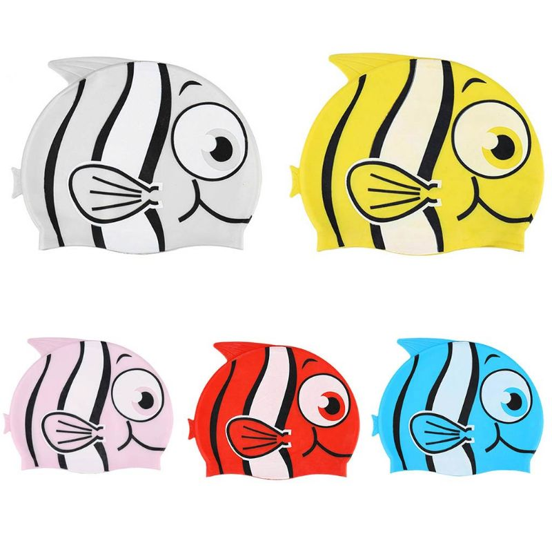 Children Boy Girl Swimming Cap Silicone Diving Waterproof Sun Protect Cute Cartoon Fish Hat