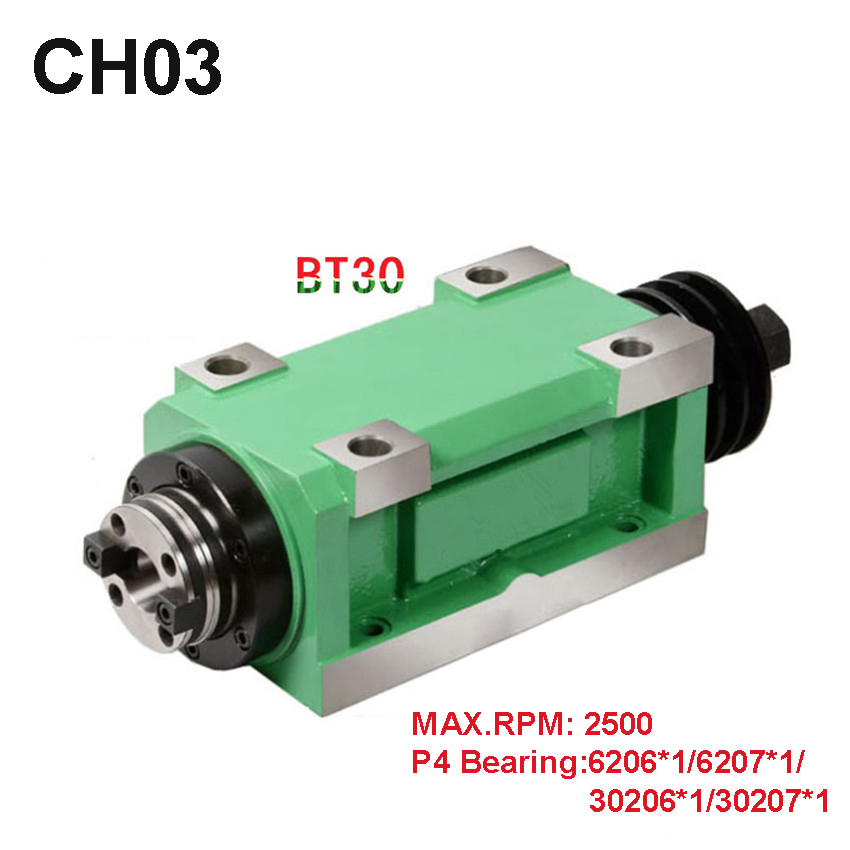 New Arrival CH03 BT30 Spindle Taper Chuck 1.5KW Power Head Power Unit Machine Tool Spindle Max.RPM 2500rpm for Milling Machine цена