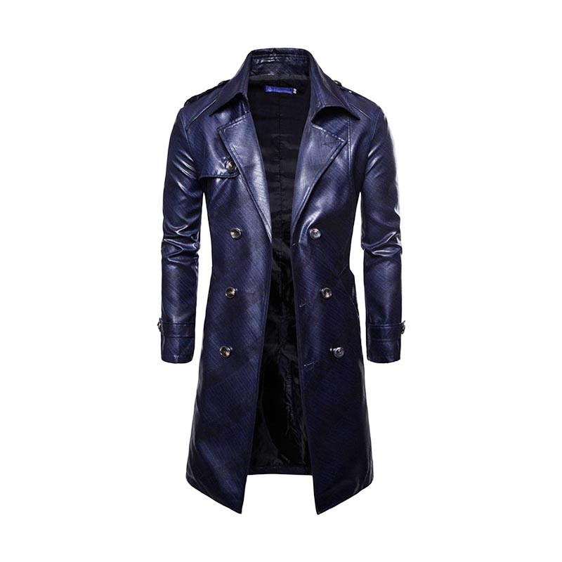 2019 Men PU Faux Leather Coat Fashion Casual Spring Autumn Double-breasted Long Style Trench Coat Male Jackets Clothing