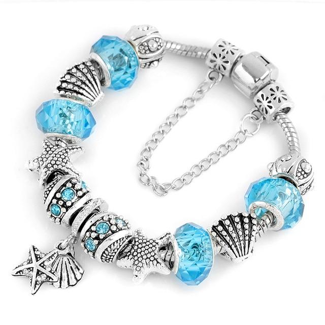 HOT Fashion Heart Key Tortoise Charm Bracelet Blue Crystal Glass Beads Pandora Bracelets & Bangles for Women Jewelry Gift