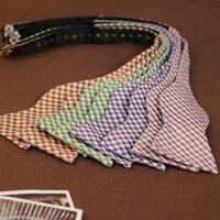 Mens Self Bow Tie Jacquard Woven Silk BowTies Red Purple Blue Plaid Butterfly Ties Fashion Wedding
