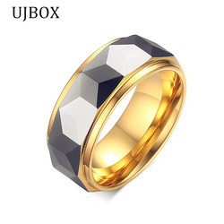 Ujbox 2017 tide men tungsten carbide ring gold color wedding band for men engagement party jewelry.jpg 250x250