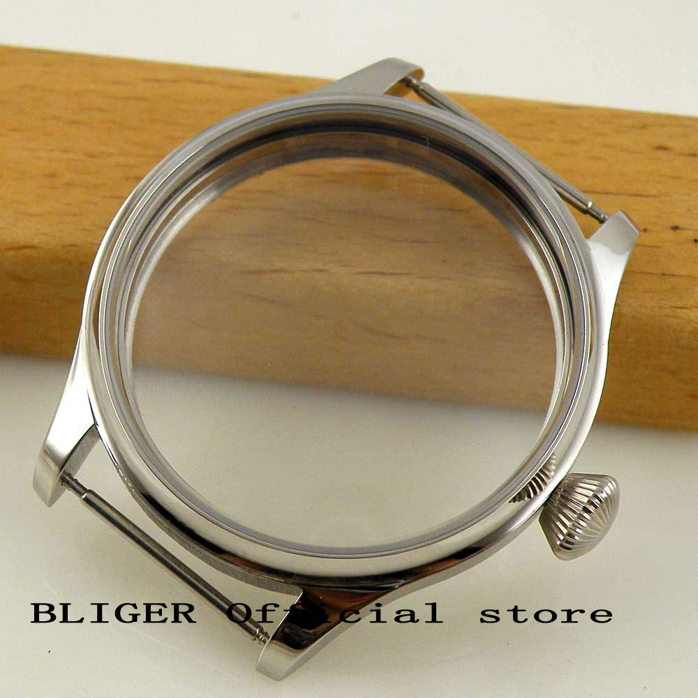 44mm Stainless Steel Watch Case Suitable For ETA 6497 6498 Hand Winding Movement C3 44mm polished stainless steel watch case with coin bezel fit for eta 6497 6498 hand winding movement c6