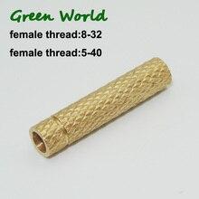 Green World 1pc/lot Solid Brass Adaptor,Female Thread 5-40,Female Thread 8-32