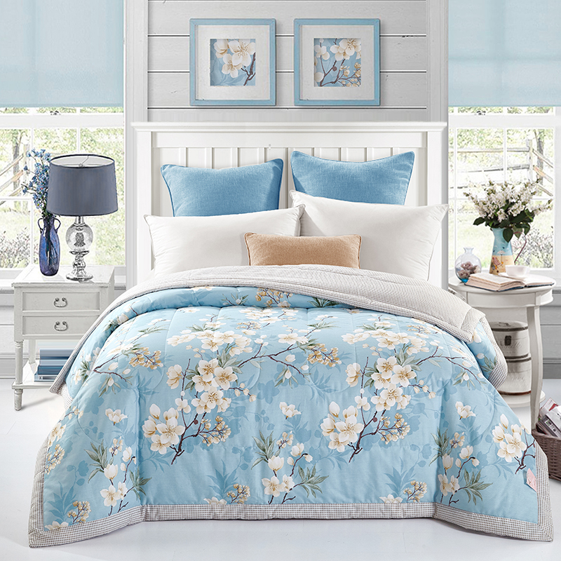 Papa&Mima Flower blue Print Quilting Summer <font><b>Quilt</b></font> Twin Queen Size Throws Blanket Cotton Bedding Plaid Bedspread