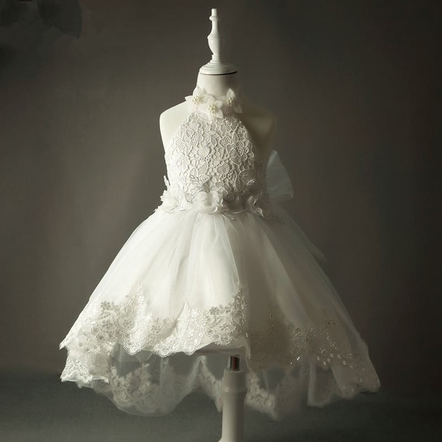 Белые платья для первого причастия для девочек 2017 Жемчуг Тюль Кружево Холтер Младенческая малышей Девушка Pageant Платья для девочек на свадьбу для свадьбы