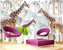 beibehang 3d wallpaper Custom personality silk cloth fashion animal giraffe abstract beautiful TV background wall