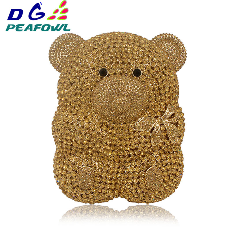 Women Cartoon Cute Bear Hollow Out Gold Crystal Evening Bags Metal Hard Case Clutches Rhinestones Gift Box Handbag Clutch Purse image