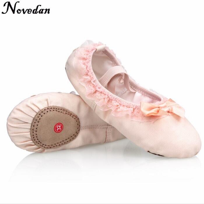 2018 Neue Marke Mädchen Leinwand Pointe Ballett Dance Schuhe Mit Bändern Schuhe Baby Kinder Kind Rosa Ballett Flache Slipper Schuh