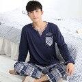 Pijamas Para Hombres Otoño Suéter Ropa de Noche de Manga Larga Conjunto de Pijama Pijamas Para Hombre de Algodón Ocasional Más Tamaño 3XL