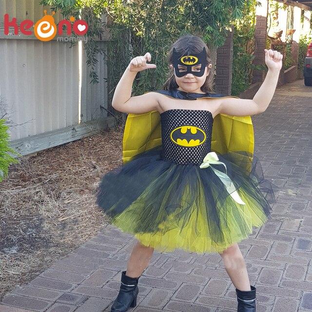 821ad8cf92 Girls Superhero Tutu Dress with Mask Handmade Batman Costume for Birthday  Party Halloween Dress Up Baby