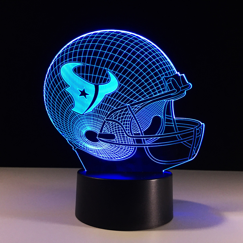 Novelty Football Helmet LED Night Light 7 Color Changing 3D Table Lamp For Kids Gift Rugby Cap Bedside Sleep Light Fixture Decor