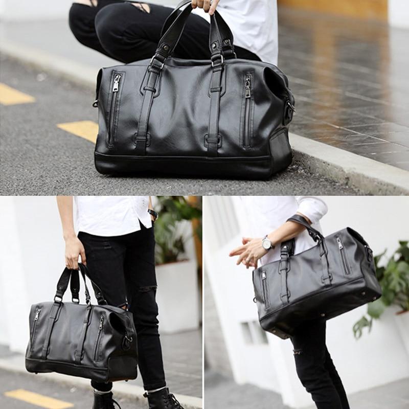 Fashion Mens PU Leather Travel Bag Vintage Duffle Handbags Large Business Luggage Handbag with Shoulder Strap sac