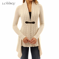 Lossky Casual Patchwork Asymmetrical Long Cardigan Women Sweater2017 Autumn Winter Female Scarf Colla Knitted Cardigans Jumper