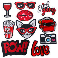 Red Patch on Clothes Stripe for Clothing Embroidery Iron on Applique on Clothes Stickers DIY Badge Patchwork Accessories Girl(China)