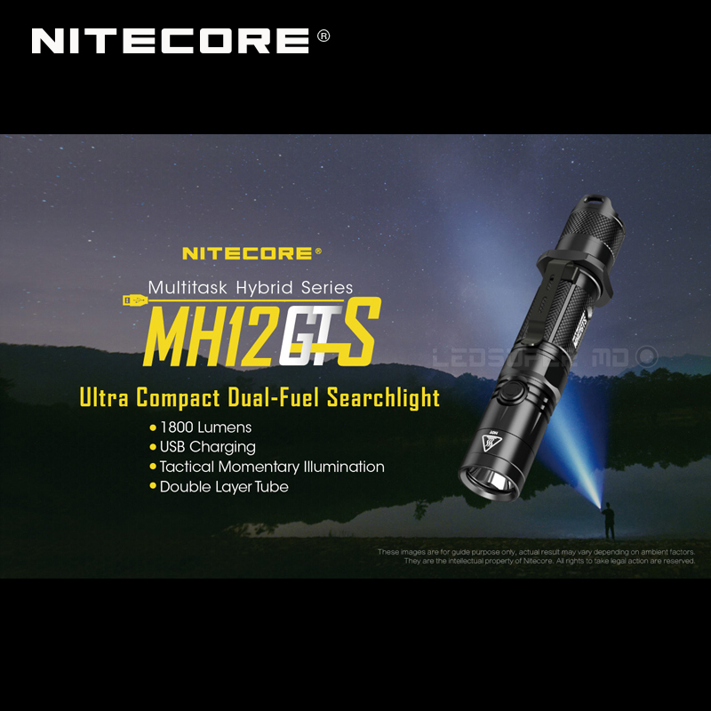 Multitask Hybrid Series Nitecore MH12GTS Ultra Compact Dual-fuel USB Charging 1800 Lumens Searchlight Flashlight With Battery