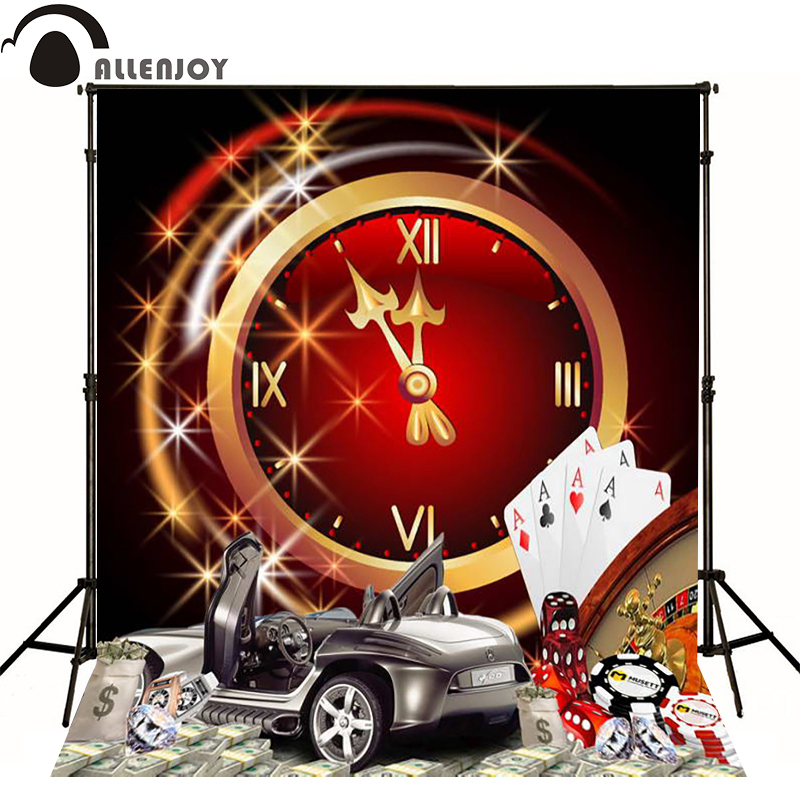 Allenjoy photographic background Las Vegas Casino Poker Clock photography fantasy send folded fabric vinyl fondos fotografia