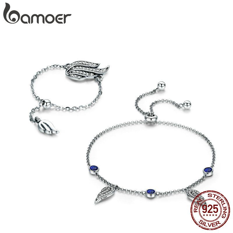 BAMOER Authentic 100% 925 Sterling Silver Fairy Wings Feather Female Ring Bracelet Silver Jewelry Set Authentic Silver Jewelry silver wings silver wings 010022v1 5 186