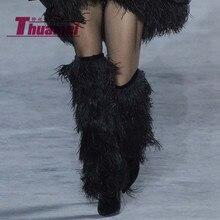 Женские сапоги до колена на высоком каблуке с острым носком; пикантная женская обувь на платформе с кисточками; Soild; сезон зима-осень;# Y0306728F