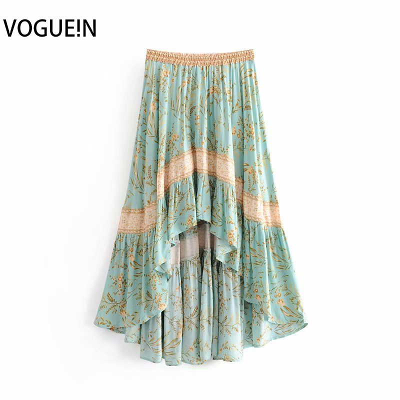 VOGUEIN New Womens Retro Light Green Beach Boho Floral Print Elastic Asymmetrical Skirt Wholesale