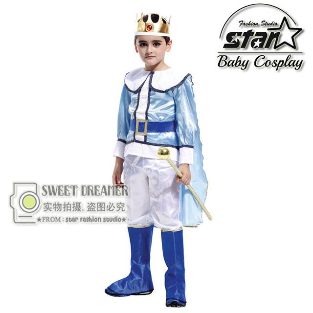 Boy prince coslpay traje disfraces infantiles rhinestone corona de halloween ropa de fiesta temática de cumpleaños desgaste ropa de cuento de hadas