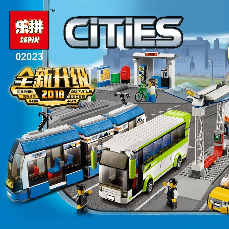 New Lepin 02023 Kids Toys 968Pcs City Series legoing 8404 Public Transport Station Set Building Blocks Brick Funny Car Toys предупреждающий знак public transport facilities 60cm