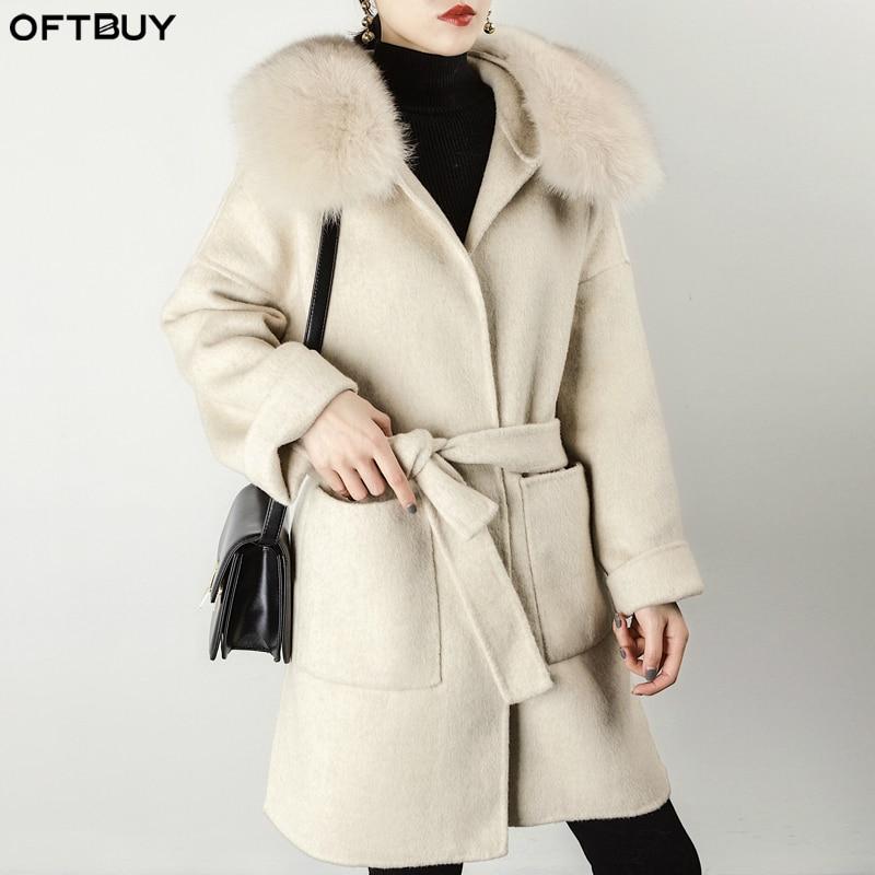 OFTBUY/весеннее пальто из натурального меха зимняя куртка для женщин с воротником из натурального Лисьего меха кашемировая Шерстяная Смесь дл