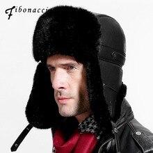 Мужская шапка Фибоначчи для зимы, брендовая качественная имитация, Кожаная шапка с мехом, с помпонами, защита ушей, шапки-бомберы, Русская Шапка-ушанка