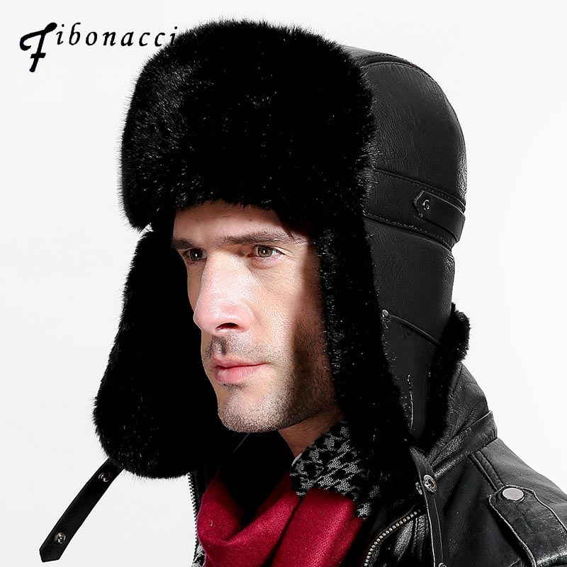 Fibonacci Mens hat for winter Brand quality Imitation leather fur hat with pom ear protect bomber hats Russian Ushanka cap