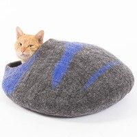 Кошка пещера дом кровать ручной работы экологической Обувь с овечьей шерстью большой Размеры Теплый Pet wo кошачьих туалетов коврик ПЭТ шезло