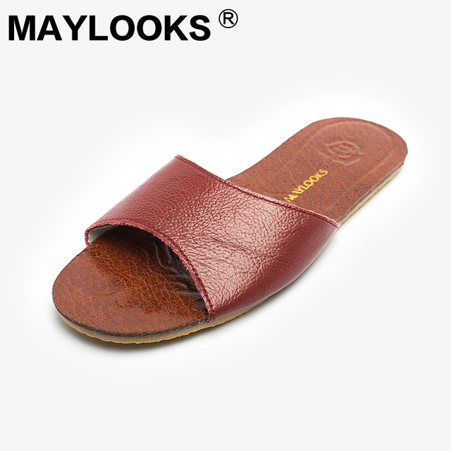 Ladies Slippers Spring And Summer Genuine Leather Home Indoor Slip Non-slip Woman Slippers 2018 New M-8805