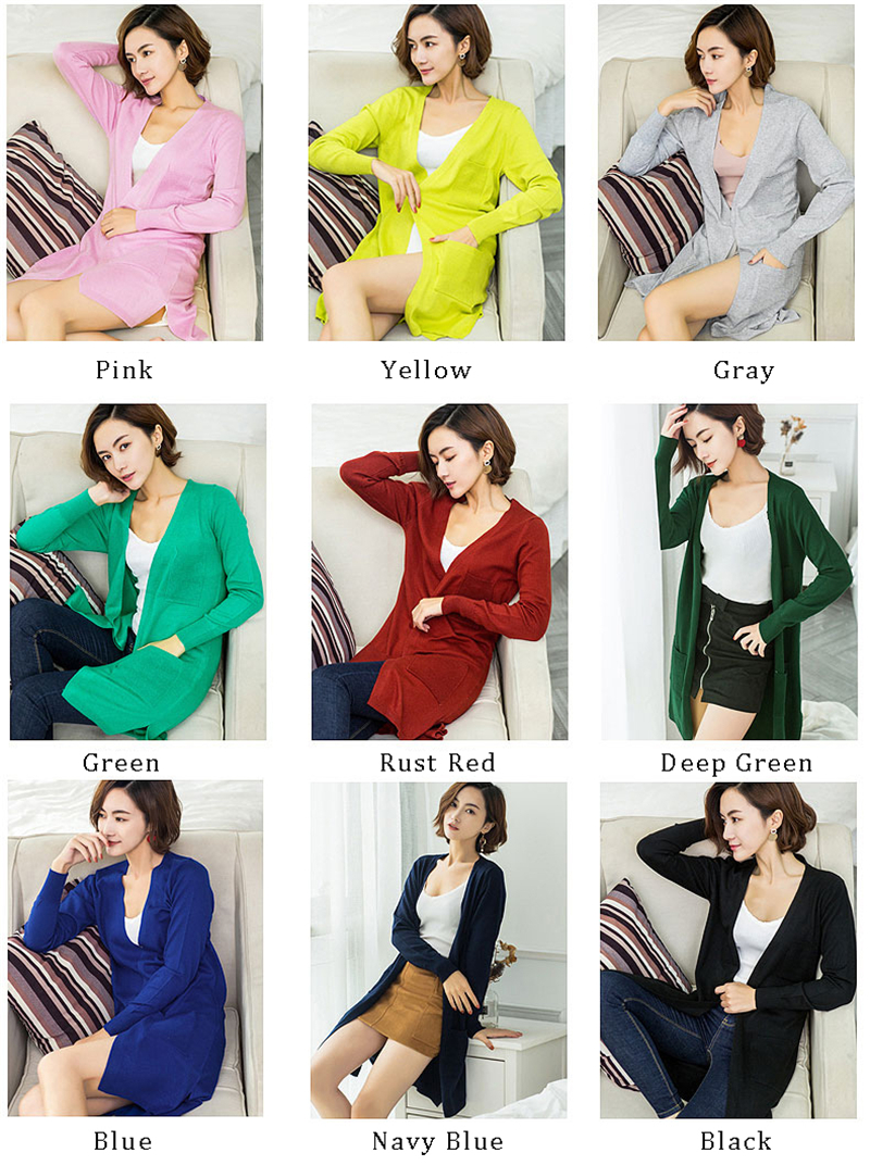 Sweater Style2018 Spring yellow Knitted Women Outwear Fashion Long deep Summer Green blue Korean Jackets Female Blue gray Cardigan red pink Pockets New Black With navy green Cashmere fPpwqS