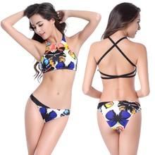Hot Sale Large Female Plus Big size Tank Top Swimwear Bikini set Removable push up padding 2016 Women Sexy Bikini M.L.XL