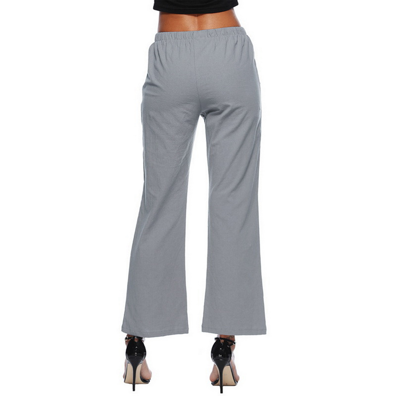 NIBESSER Plus Size Women Pants Fashion Solid White Wide Leg Pants Summer Casual Stretch Drawstring Trousers Loose Harem Pants
