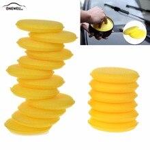 12 adet El Yumuşak Balmumu Sarı Renk Bakım Yıkama Temiz Araba Ağda Cilalı Yuvarlak Sarı Sünger için Araba