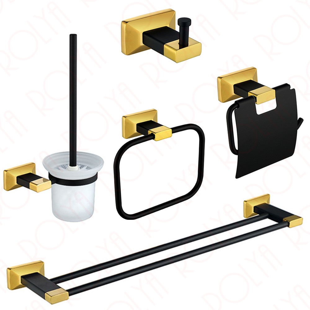 Premium Luxury Wall Mount Bath Hardware Accessories Set Black&Gold Robe Hook Paper Holder Toilet Brusher Holder Towel Rails fixmee 50pcs white plastic invisible wall mount photo picture frame nail hook hanger
