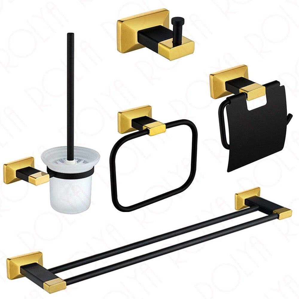 Bathroom towel rail sets - Premium Luxury Wall Mount Bath Hardware Accessories Set Black Gold Robe Hook Paper Holder Toilet Brusher Holder Towel Rails