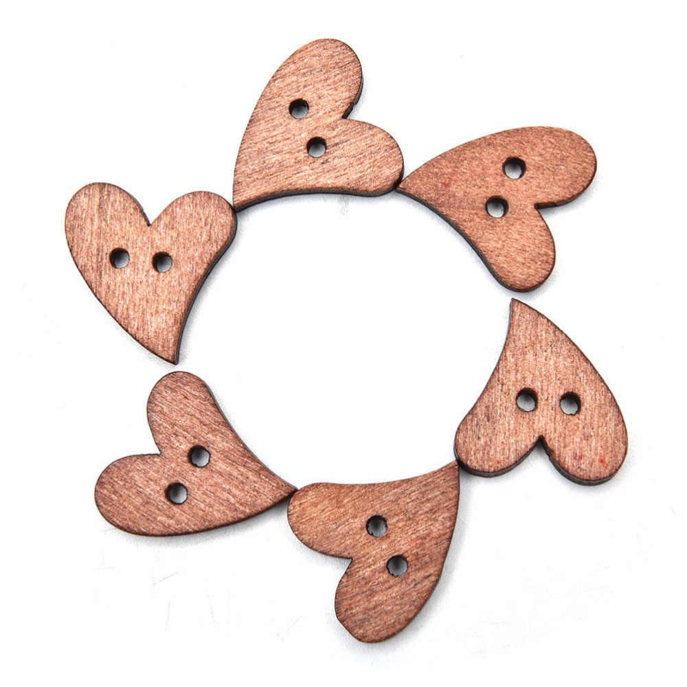 Przyciski Craft Scrapbooking 20mm do odzieży akcesoria z brązowego drewna, drewniane szycia kształt serca przycisk