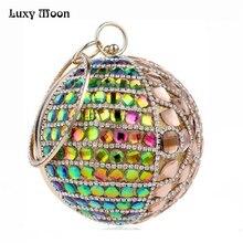 Regenbogen Diamant Clutch Bag Runde Form Abendtaschen Frauen Abend Kupplung Umhängetasche Mini Geldbörsen Brieftasche Dame Handtaschen ZD453