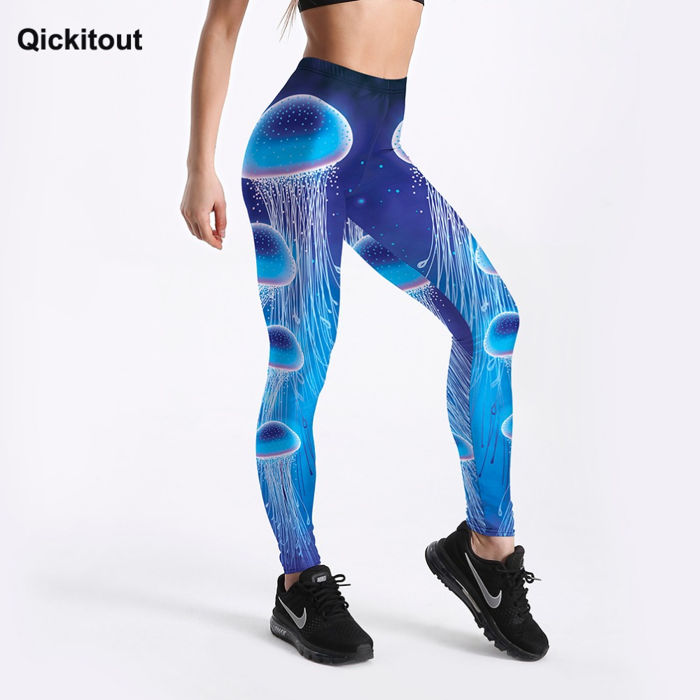 Qickitout New Arrival Hot Sale Women Leggings Jellyfish 3D Fantasy Printed Push Up Leggings Fitness Workout Pants Drop Shipping
