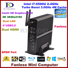 Windows10 Mini PC HTPC Intel Core i7 5500u дешевые домашнего кинотеатра PC 2 * lan + 2 * HDMI + SPDIF + USB3.0, HD 4 К, 300 м WIFI, Windows 10 Pro