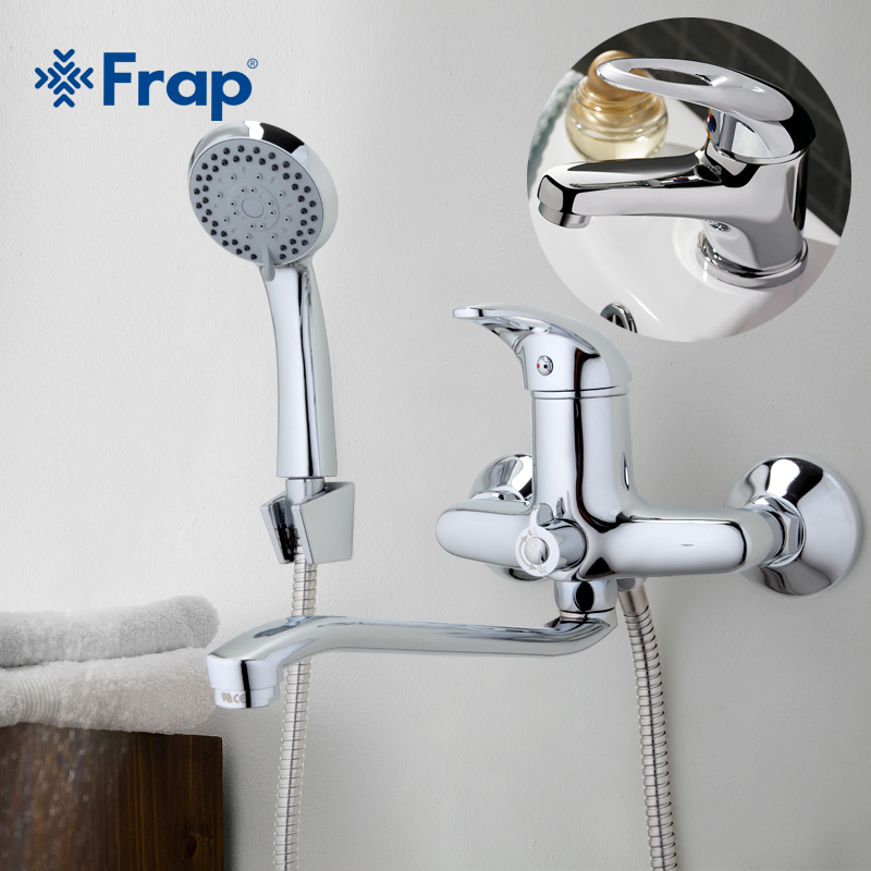 FRAP 300mm Outlet pipe Chrome Bathtub shower faucet with bathroom basin faucet tap mixers cold and