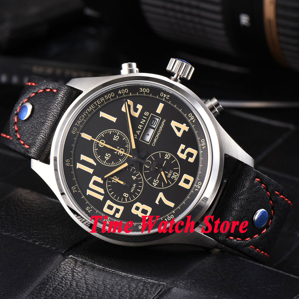 Parnis 43mm black dial sapphire glass Full chronograph date week display Quartz movement Men's watch 816