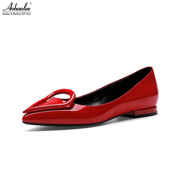 114e24fd3 Aohaolee Pointed Toe Heart Buckle Women's Ballet Shoes Red Patent Leather  Ballerina Ballet Flats Comfortable Driving Loafer Shoe