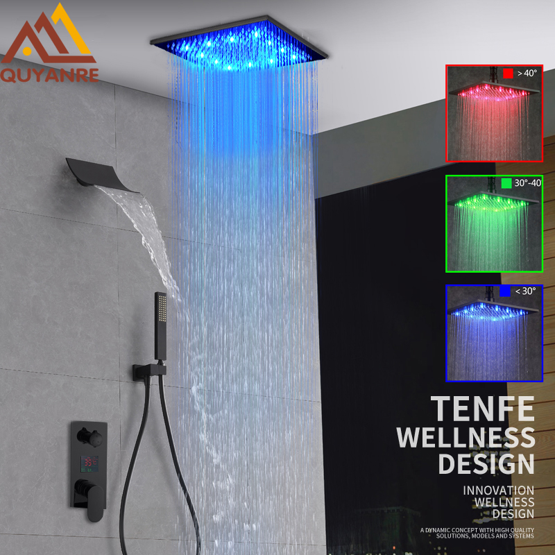 Quyanre Black Digital Shower Faucets Set LED Rainfall Waterfall Shower Head Digital Temp Display Mixer Tap
