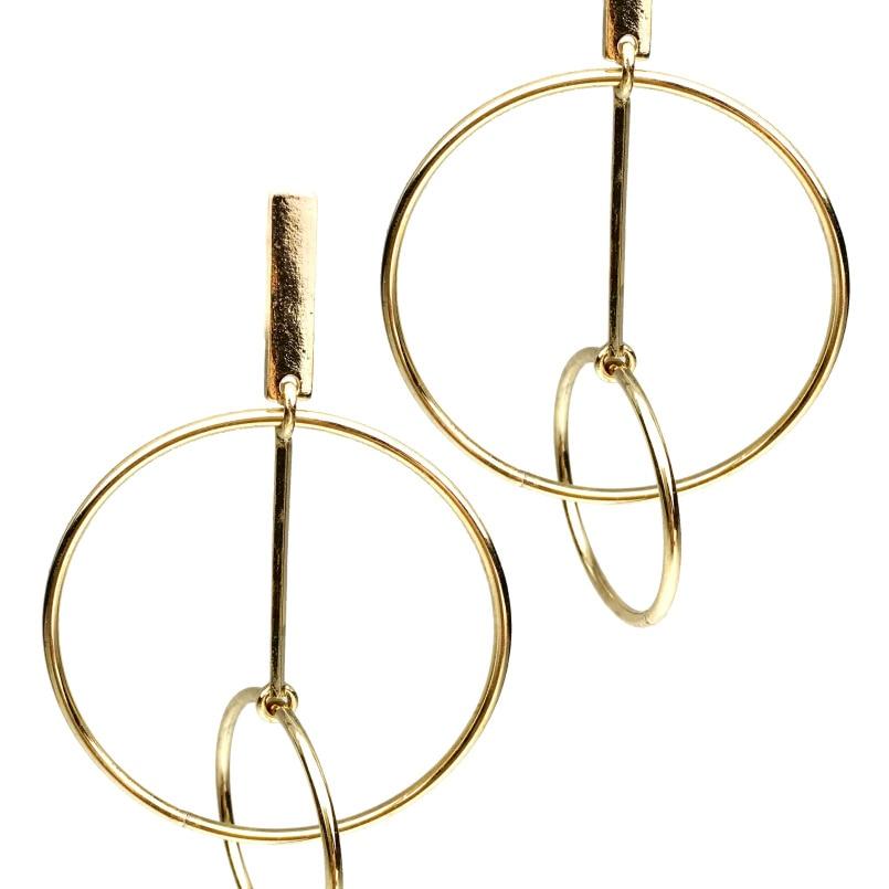 MANILAI Brand Personality Circular Metal Big Dangle Earrings For Women Fashion Jewelry Punk Long Earrings Gold Color Pendientes